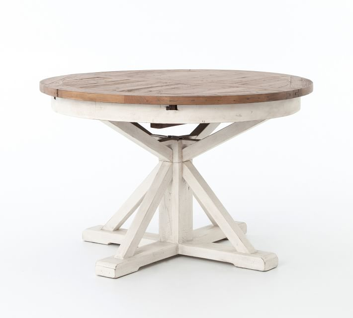 Hart Round Reclaimed Wood Pedestal Extending Dining Table Driftwood White Circular Dining Table Dining Table Round Extendable Dining Table