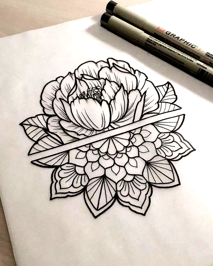 Half Rose Mandala Tattoo Design Black And White Drawing White Backgorund Mandala Tattoo Design Half Mandala Tattoo Mandala Tattoo