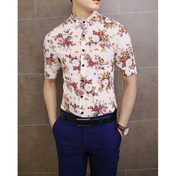 Mens Floral Print Half Sleeve Button Down Shirts