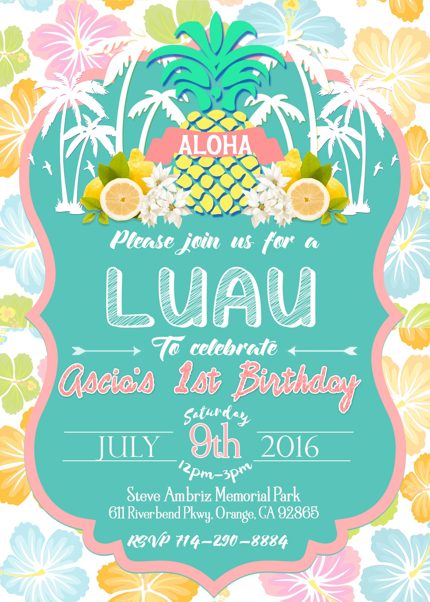 Luau Birthday Invitation Luau Invite Girl Birthday Party