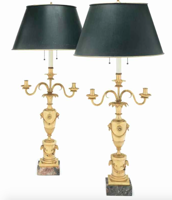 A Pair Of North Italian Ormolu Three Light Candelabra Early 19th Century Mounted As Lamps Lamp Italian Furniture Candelabra