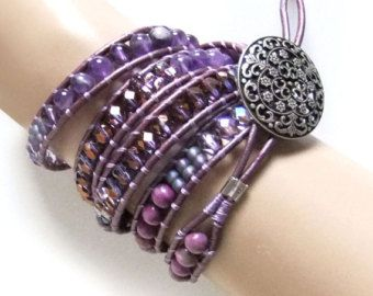 Purple Jasper Amethyst Gemstone Bead Leather Wrap Bracelet Handmade Leather Cord, 5 Wraps, Ladder Bracelet