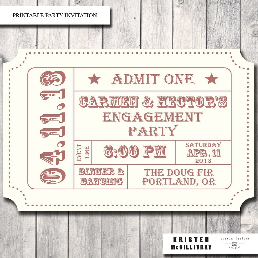 engagement party ticket invitation admission ticket stub print