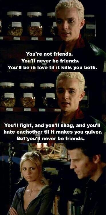 Spike telling the truth to Buffy and Angel.