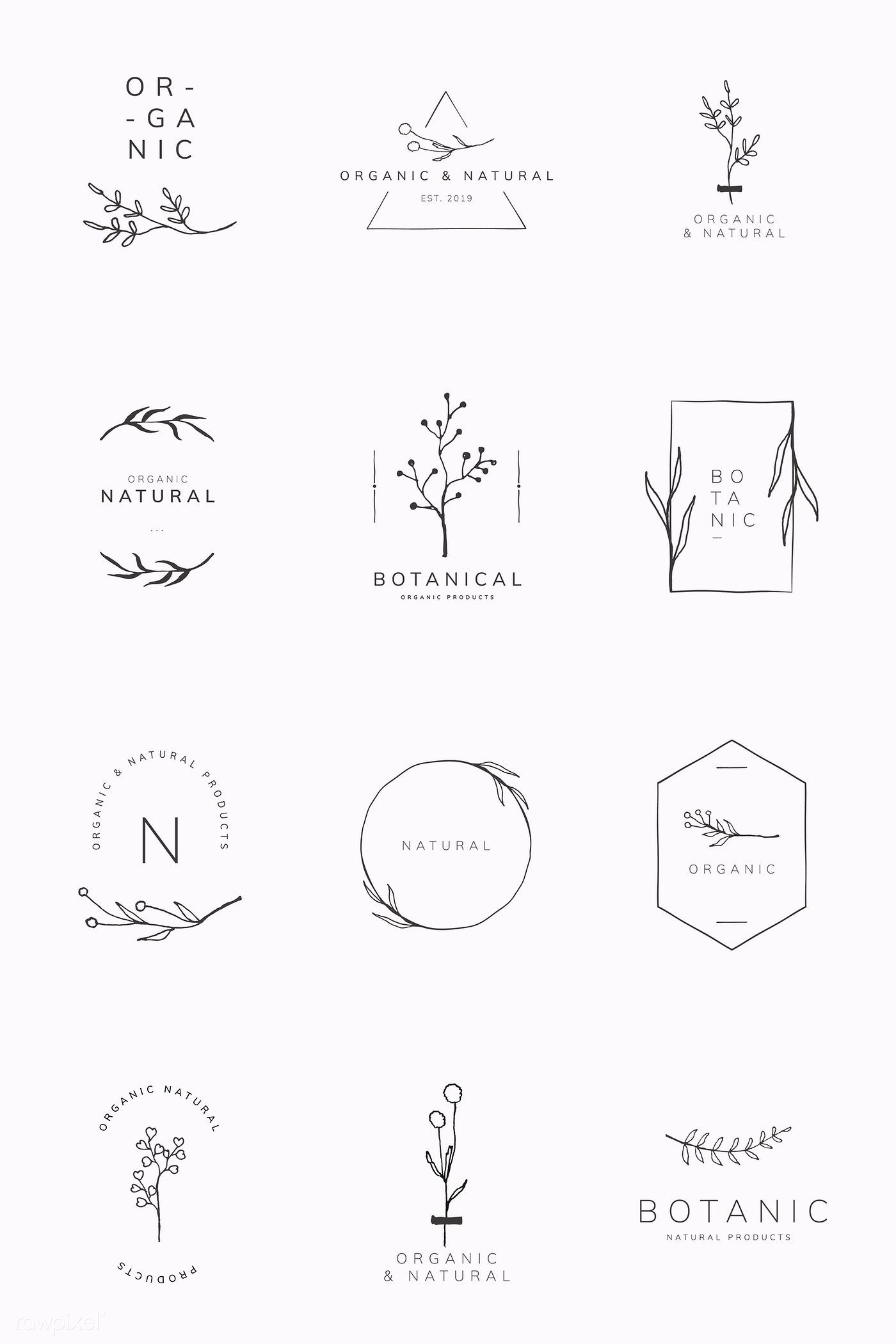 Organic product brand logo vector collection | premium image by rawpixel.com / sasi