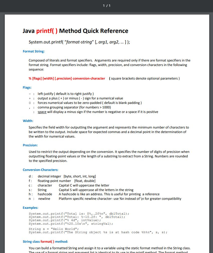 Java printf() Method Quick reference PDF from www cs colostate edu