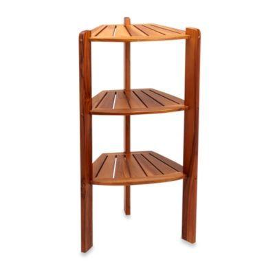 Buy Taymor® Teak 3-Shelf Corner Caddy Stand from Bed Bath & Beyond ...