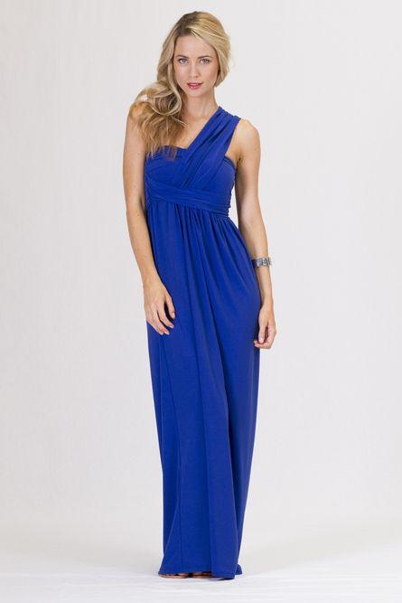 Grecian One Shoulder Maxi Dress - Cobalt