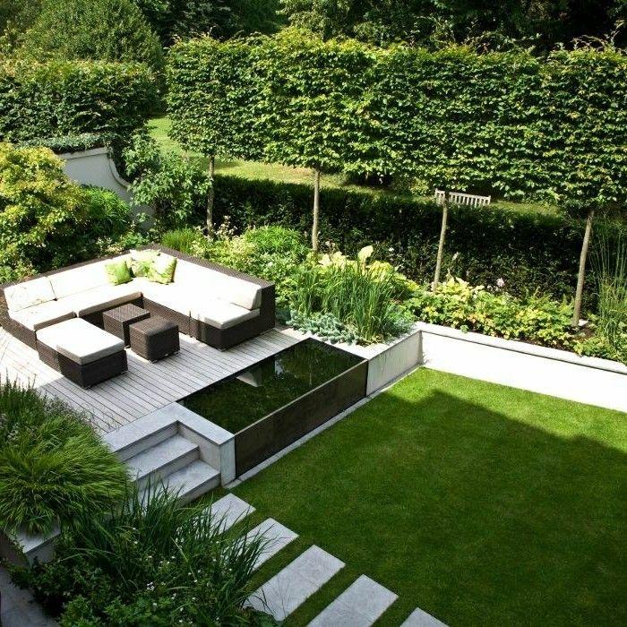 Cute Moderne Steinterrasse und Gartenteich Umgestaltung Garten Pinterest Steinterrasse G rten und Au enanlagen