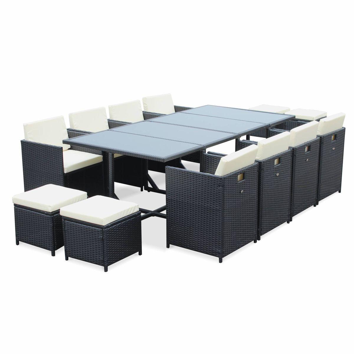 Salon de jardin Cubo Noir table en résine tressée 8 à 12 ...
