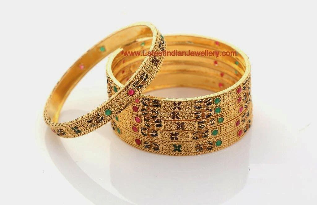 Calcutta Design Gold Bangles Set   Gold bangles, Bangle and Bangle set