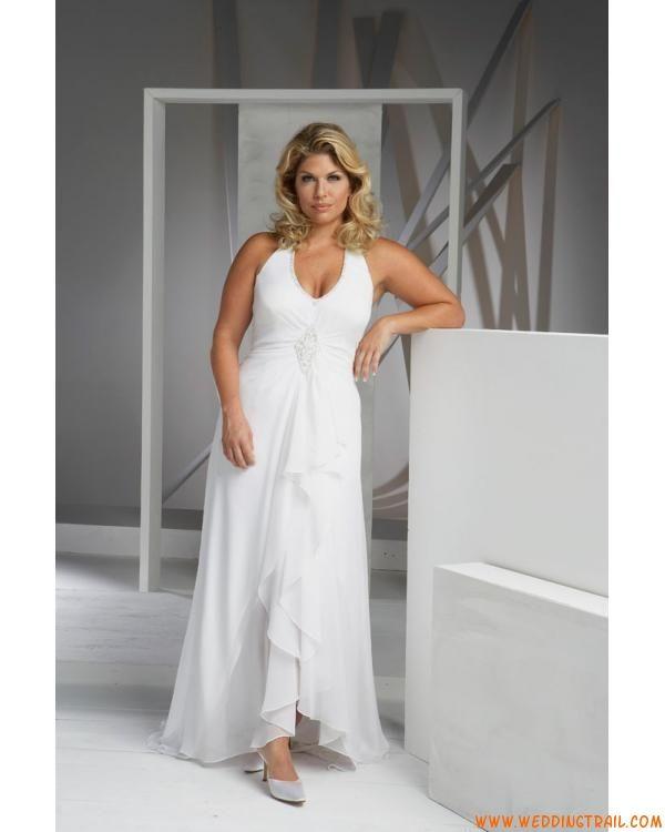 Elegant Simple Halter V Neck Chiffon Casual Plus Size Wedding Dresses Summer Wedding Gowns Asymmetrical Wedding Dress Halter Wedding Dress