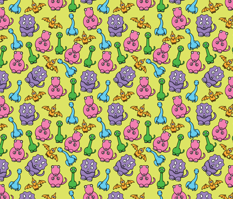 Fabric by the Yard Friendly Dinosaurs - 8in (bright pastels)