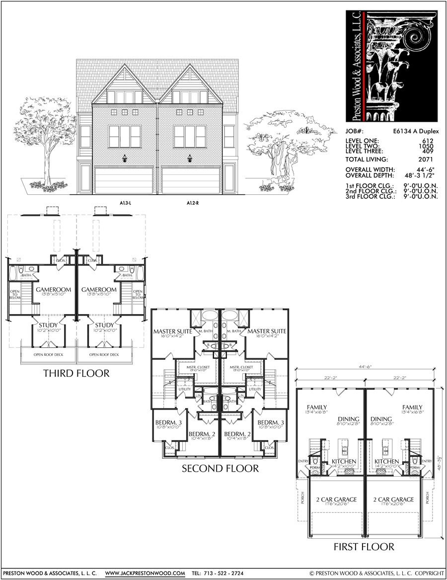 Three Story Duplex Townhouse Plan E6134 Town House Floor Plan How To Plan House Layout Plans