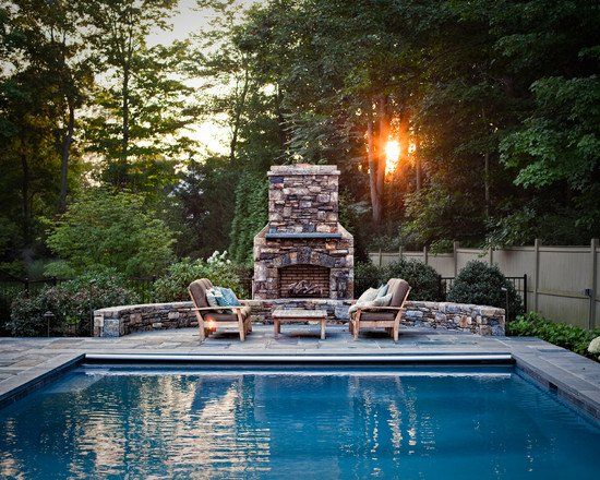 Traditional Poolside Fireplace | Pool ideas | Pinterest | Traditional