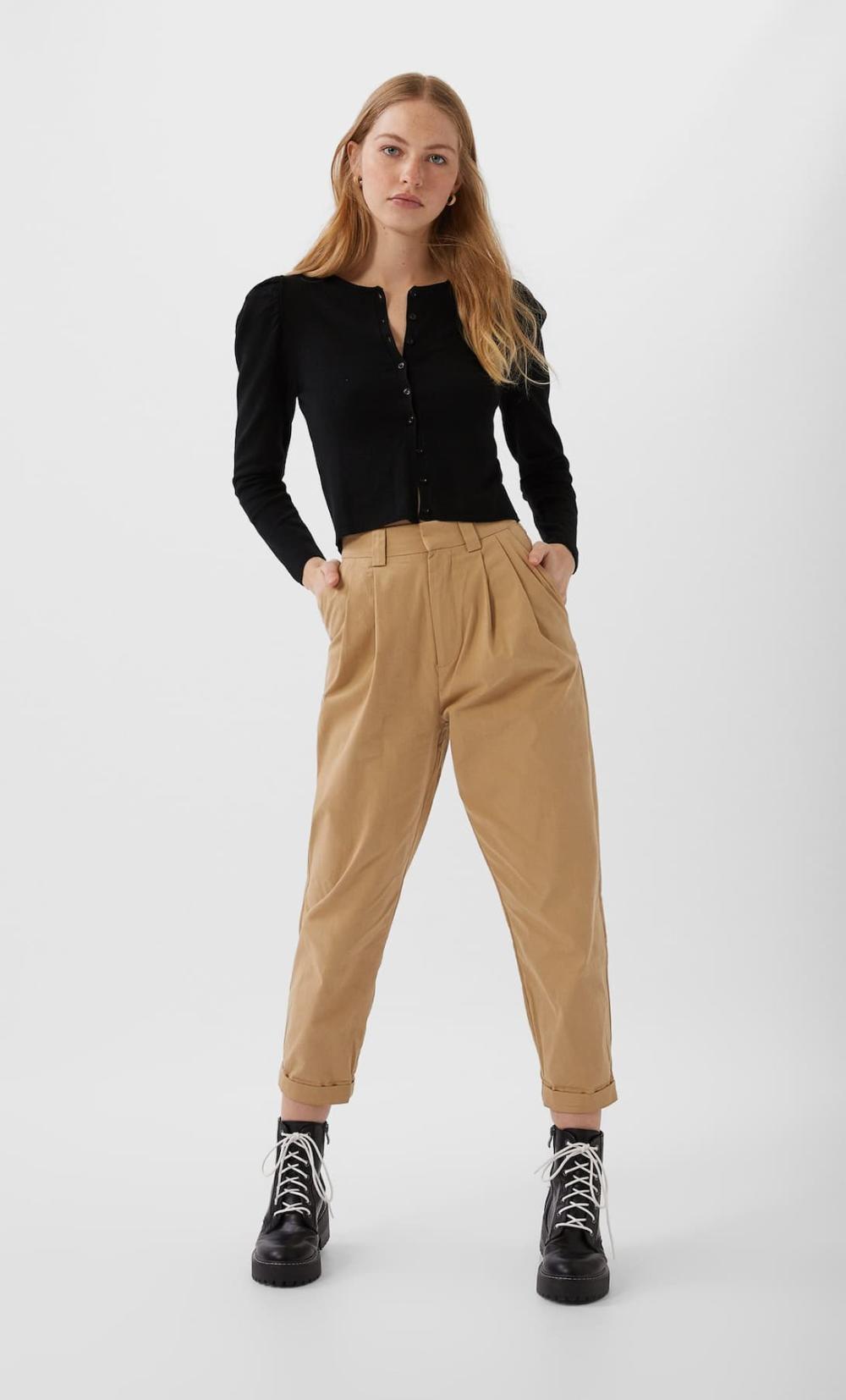 Pantalon Slouchy Pinzas Pantalones De Mujer Stradivarius Espana Pantalones Con Pinzas Mujer Pantalones Con Pinzas Pantalones Anchos