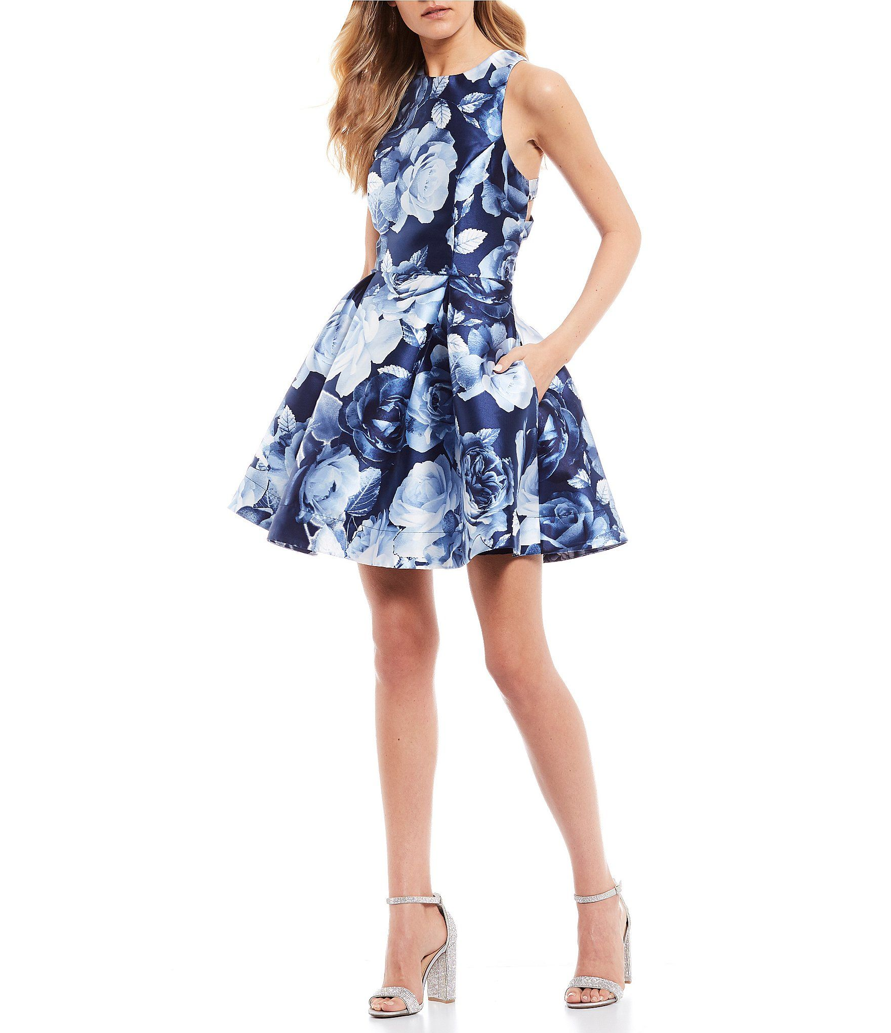 Xtraordinary Sleeveless High-Neck Floral Print Mikado Fit-and-Flare Dress | Dillard's