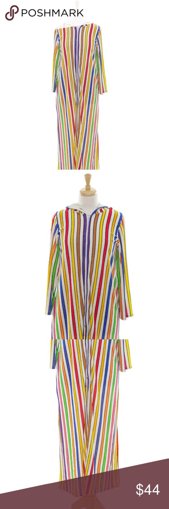 Vintage size multicolor long sleeve hooded robe my posh closet
