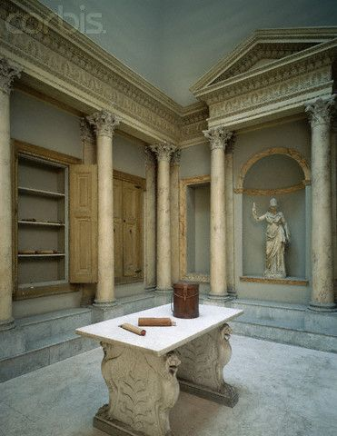 Reconstruction of an Ancient Roman Library Roma Italy Ancient