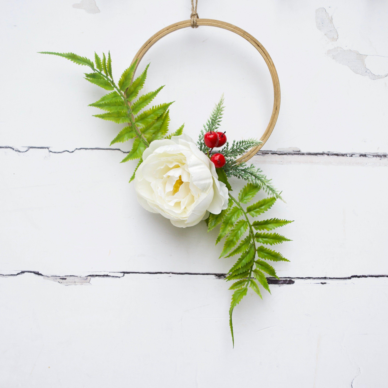 White Scandi Flower Bouquet White Peony Flower Hoop