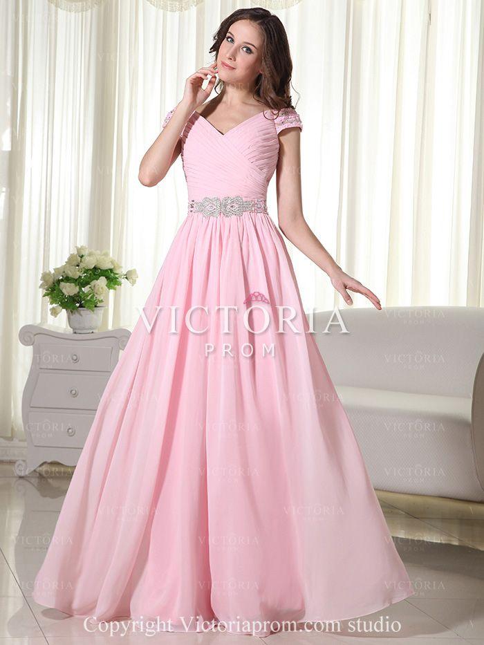 Formal Pink A-Line Floor Length Chiffon V-Neck Cap Sleeve Prom Dress ...
