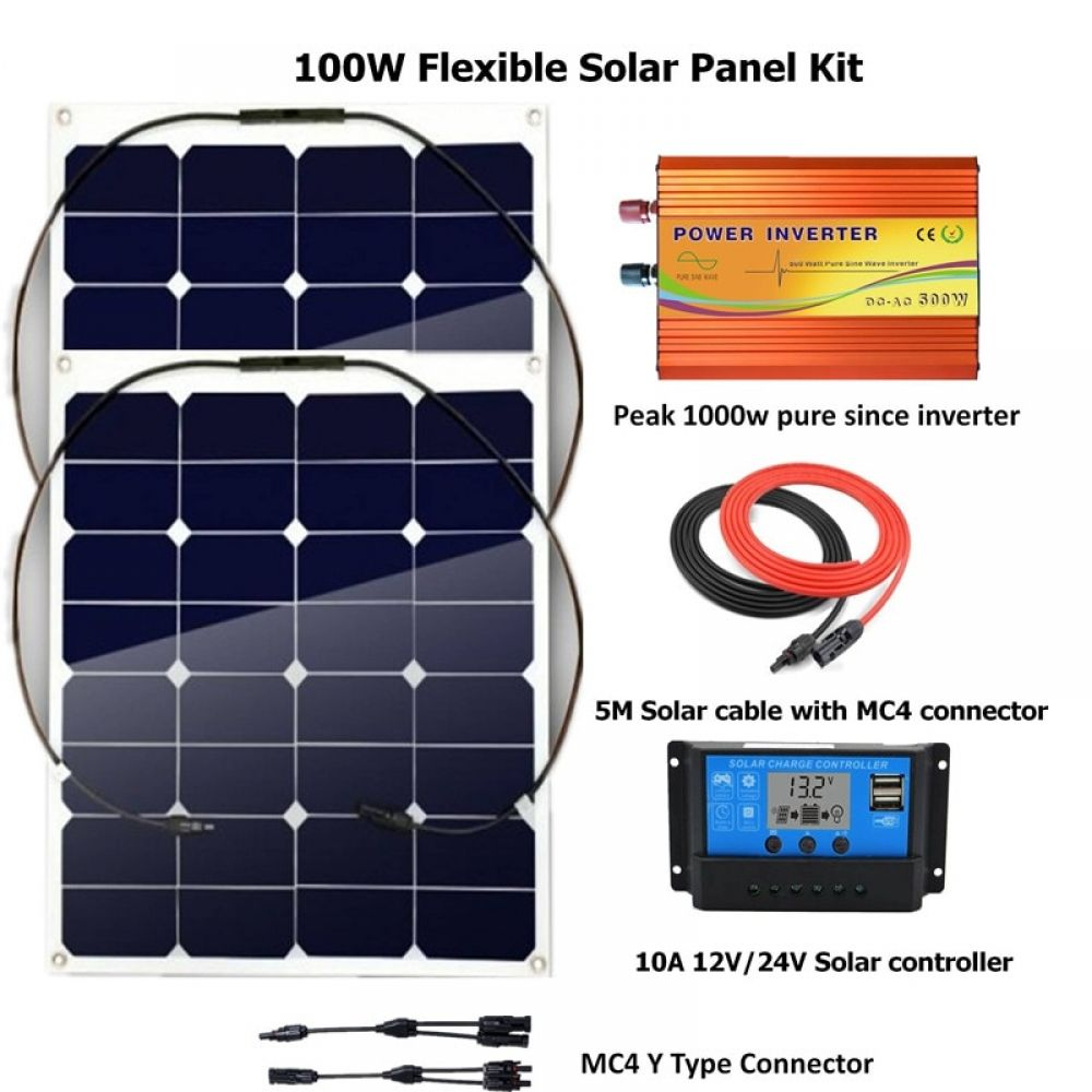 100w Solar Panel Kits 2pcs 50w Flexible Solar Panel With 10a Lcd Solar Controller Peak 1000w Inverter Solar Panel Kits Flexible Solar Panels Solar Panel System