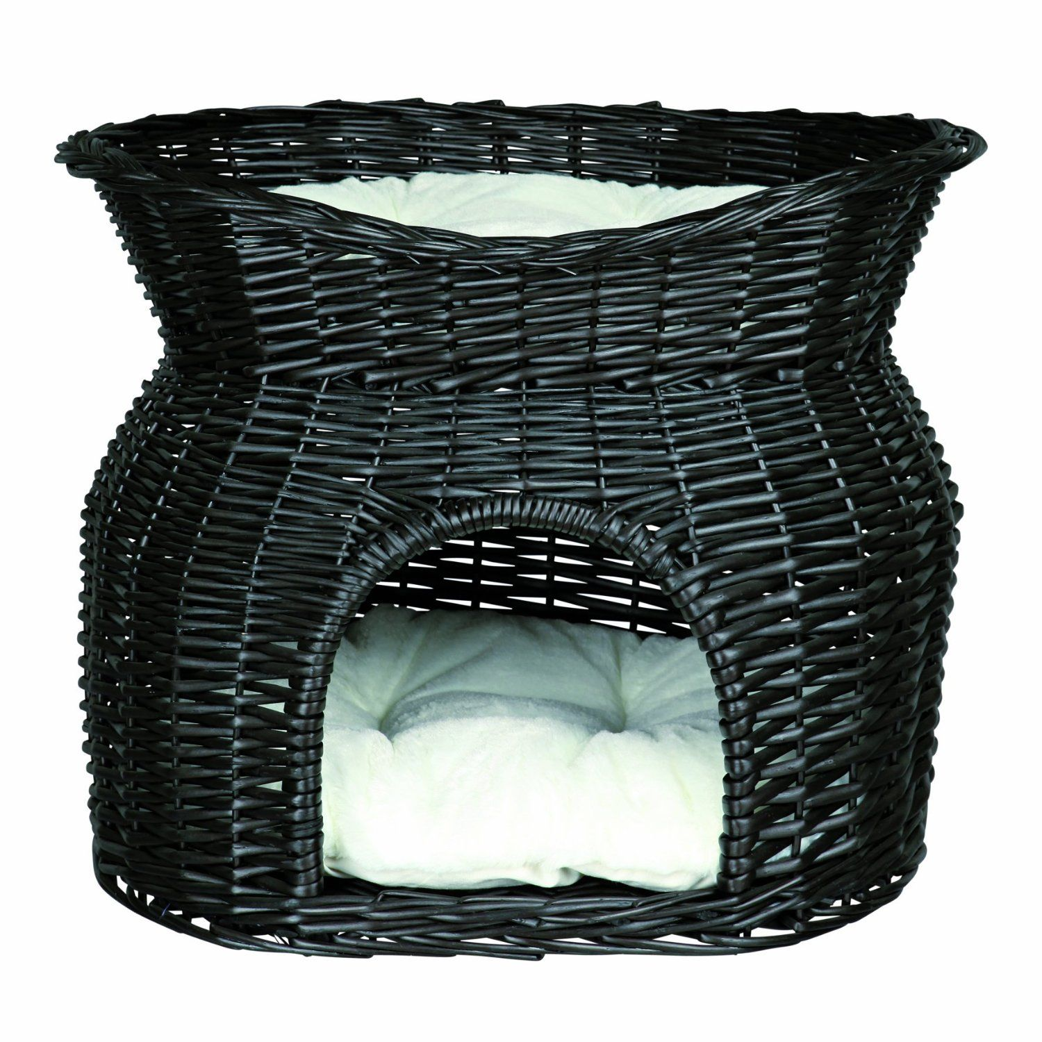 Black wicker cave with bed measures 54 cm x 43 cm x 37 cm