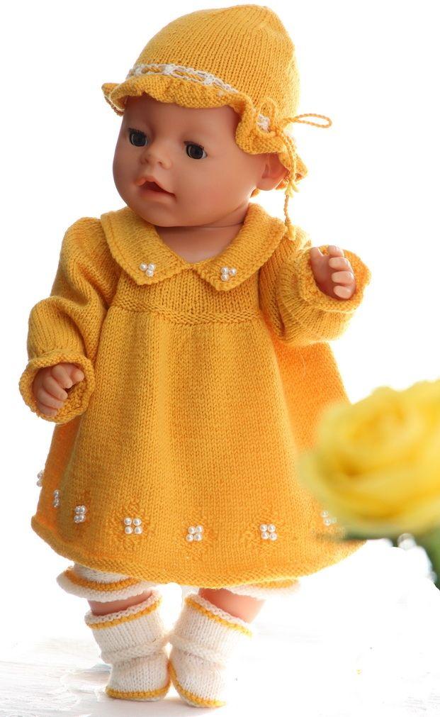 stricken f r ostern h bsche gelben kleid f r baby born. Black Bedroom Furniture Sets. Home Design Ideas
