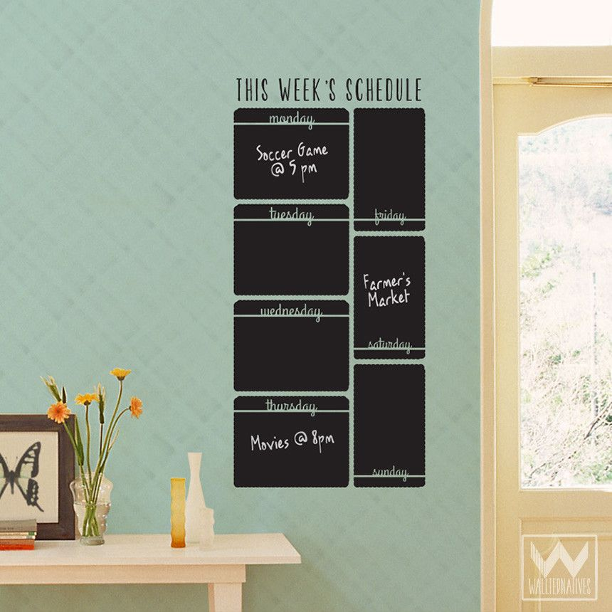 Vertical Week Schedule Chalkboard Vinyl Wall Decal | Chalkboard ...