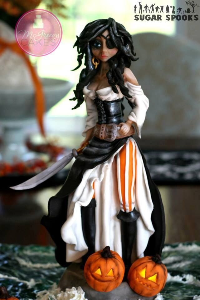 She-pirate sculpted of modeling chocolate for the Sugar Spooks Collaboration this past Halloween (2013).