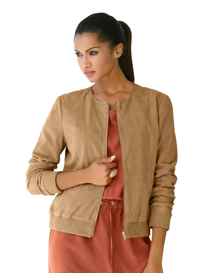 finest selection 2b108 bd4c2 Alba Moda Lederblouson aus Ziegenveloursleder | Fashion ...
