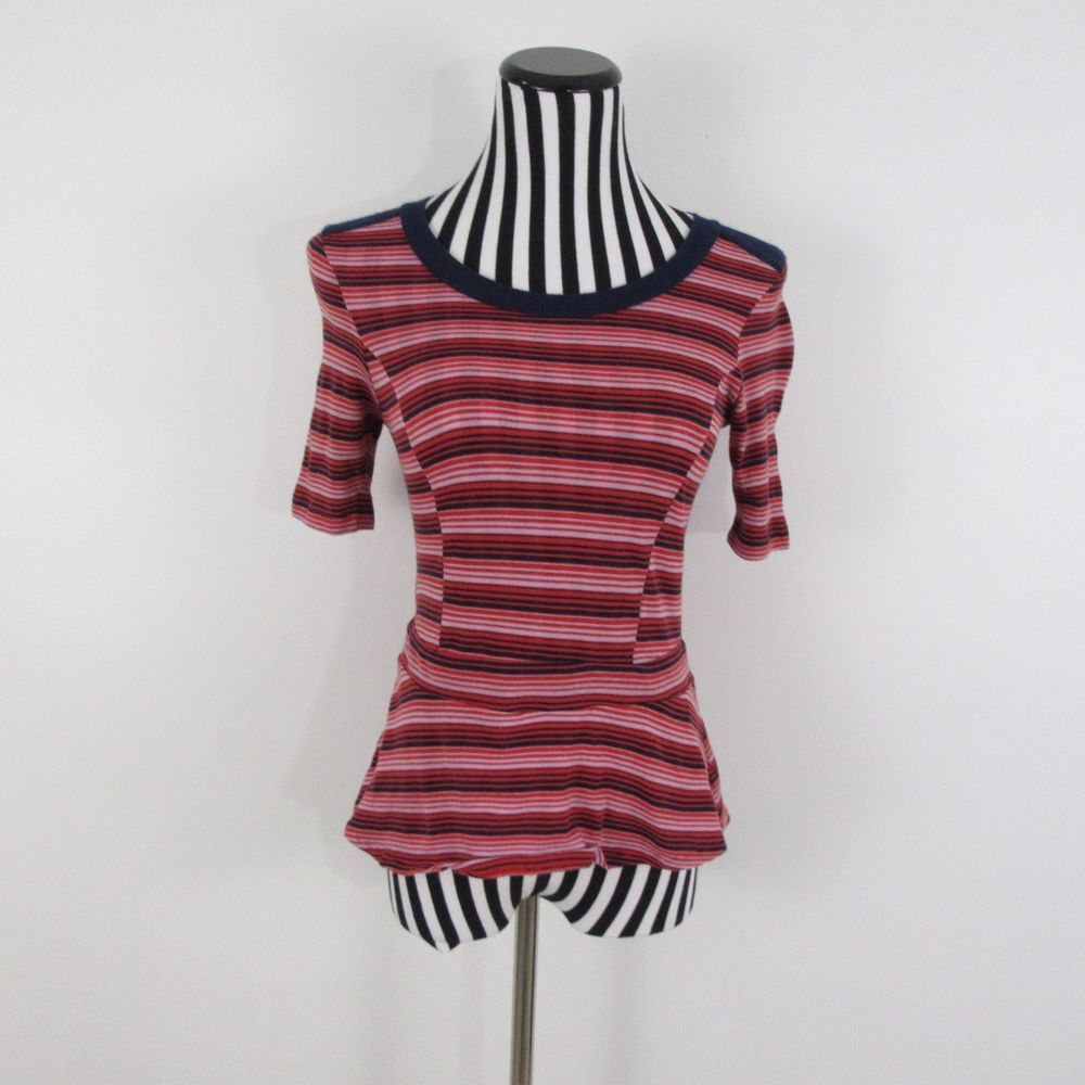 Bordeaux Red Pink Striped Peplum Stretch Short Sleeve Top Size S #Bordeaux #Blouse #Casual