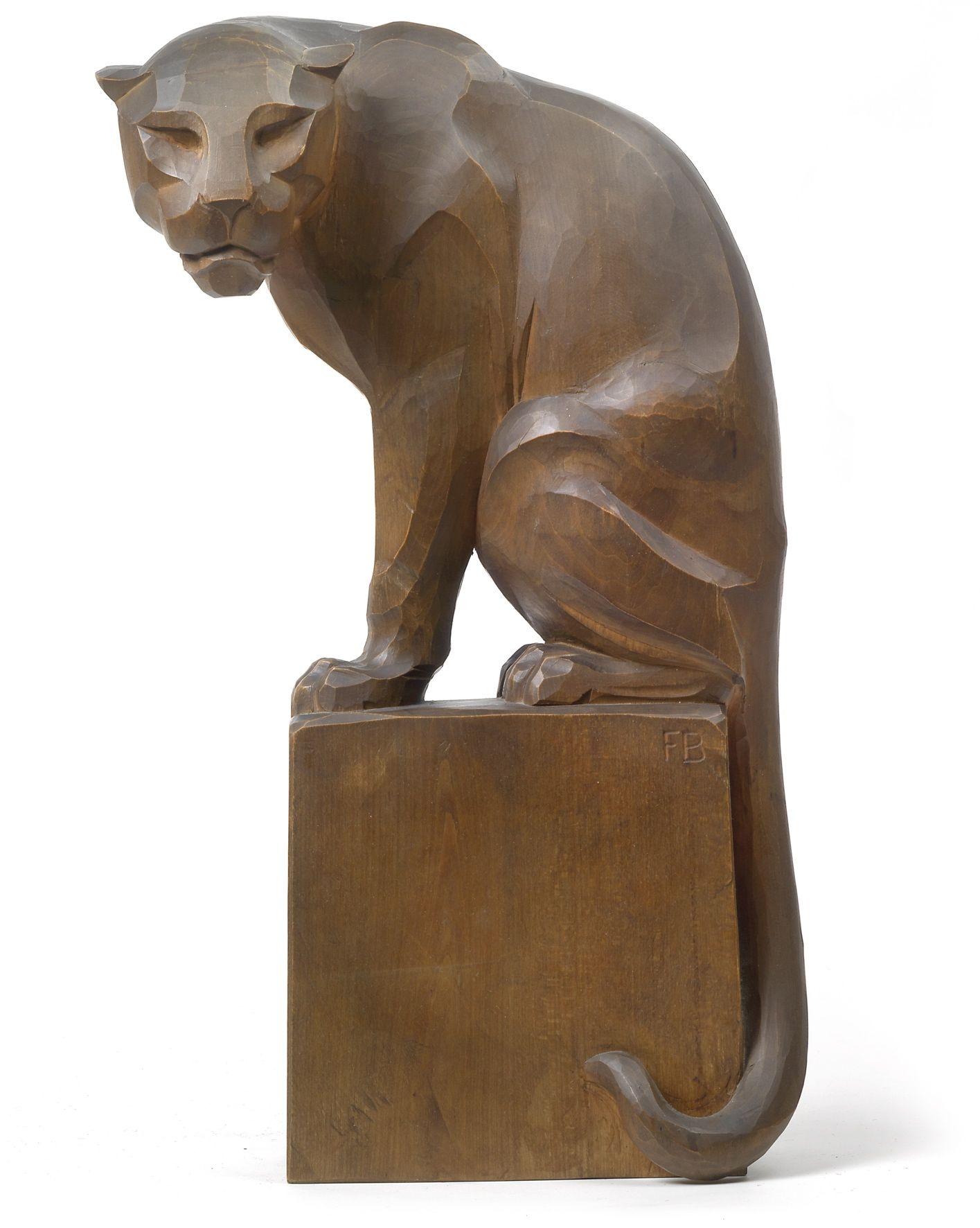 Moderne Skulptur Figur Bronze sitzende Katze
