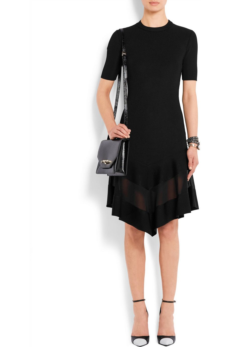Givenchy Woman Organza-paneled Dress In Black Ribbed-knit Black Size M Givenchy SpClXwR