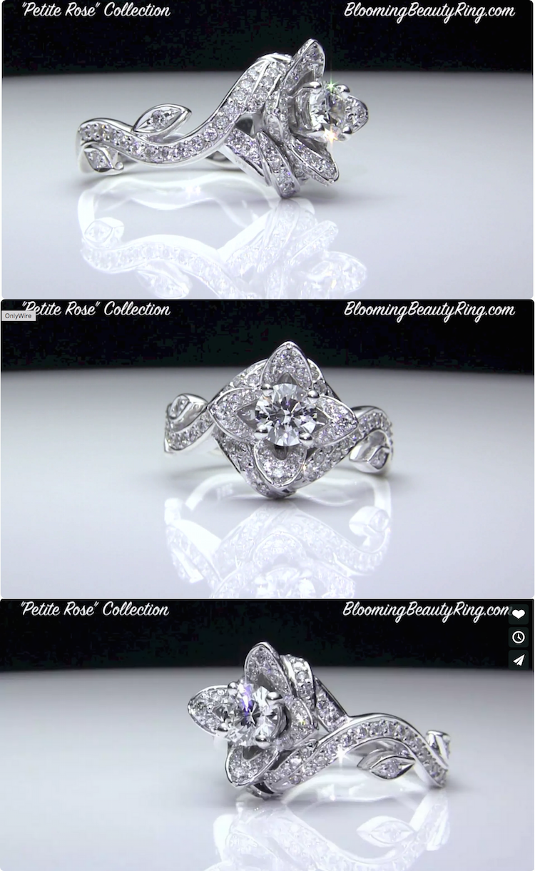 The petite rose flower diamond engagement ring seen here in video lotus ring with leaves ctw starting from the bottom up along the artistically curved band of this lotus ring youll see four leafs izmirmasajfo Choice Image