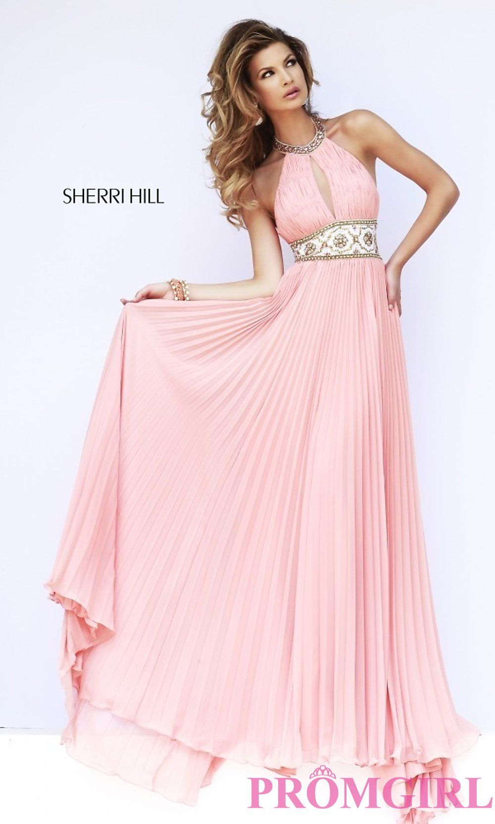 Image of Sherri Hill Halter Top Pleated Prom Dress Style: SH-11251 ...