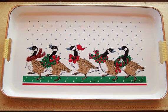 Vintage Christmas Tray Christmas Goose Decorative Tray Serving Tray Christmas Decor under 20