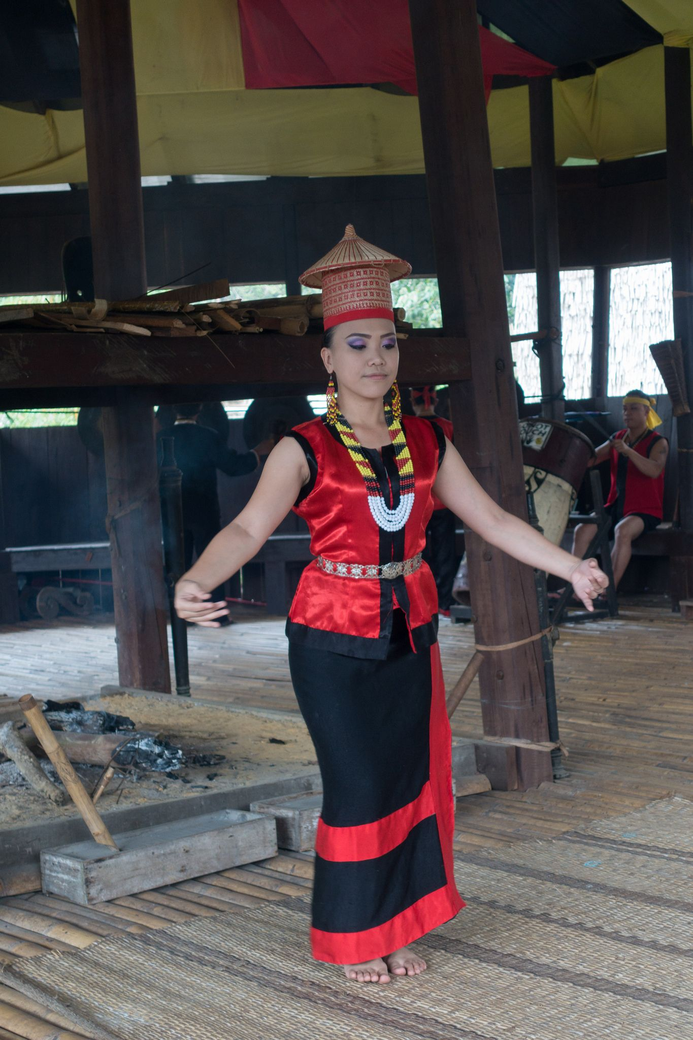 Dancer Performing The Welcome Dance In The Bidayuh Head House Traditional Outfits West Kalimantan Sarawak