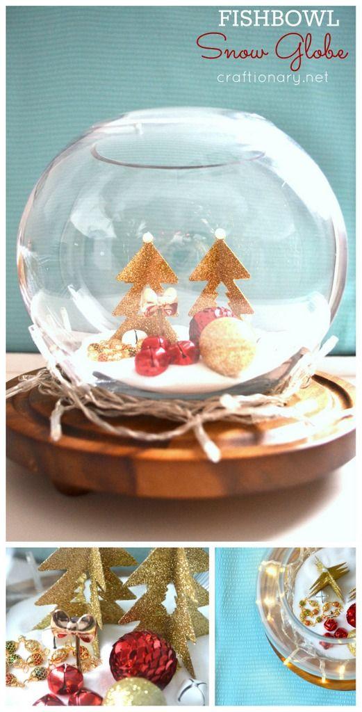 Diy Fishbowl Snow Globe Tutorial Snow Globes Snow Globe Crafts