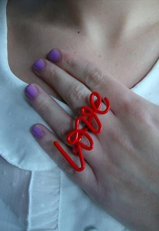 Retro Ring Red Love Double Finger Ring