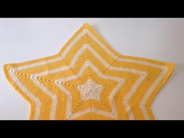 Tutorial Manta Estrella a Crochet Ganchillo Fácil   Ganchillo facil ...