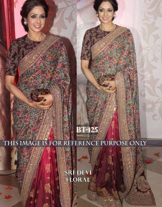 806a29243c sridevi FLORAL PRINT SAREE OF BOLLYWOOD CELEBRITY SAREES | Bollywood ...