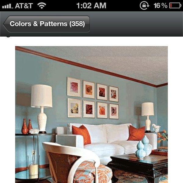 Blue And Orange Living Rooms   White Sofa Blue Walls Orange Silk Pillows  Black Asian Table Blue Orange Rug Inspiration Family Room ~ I Love The Blue  And ...