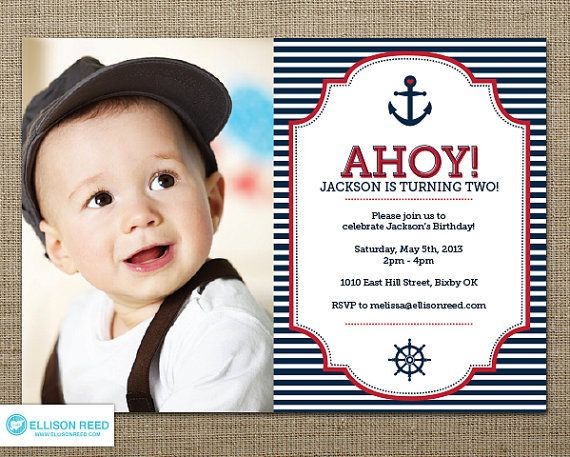 Nautical Photo Birthday Invitation Boy Navy and Red Sailor – Invitations for First Birthday Boy