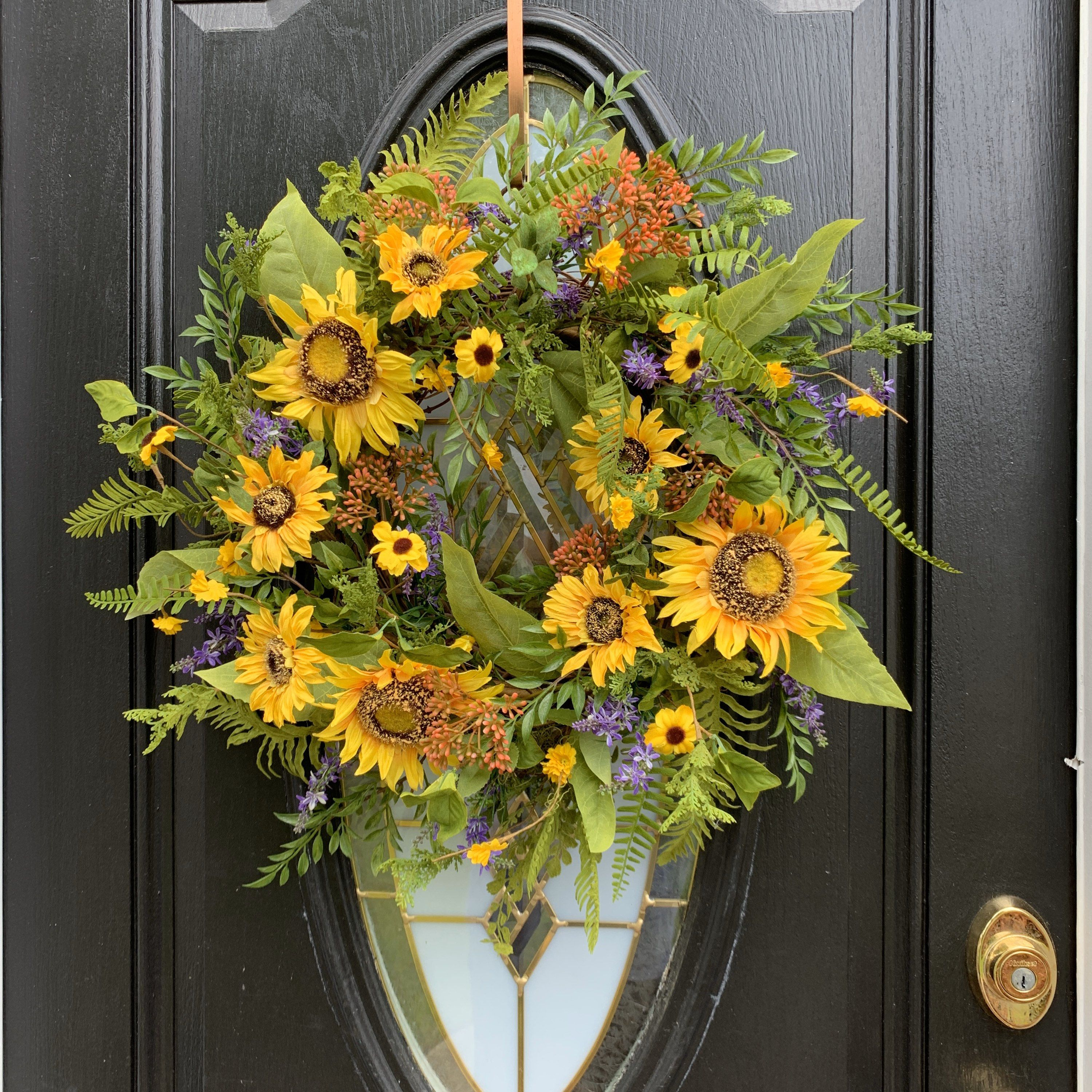 ON SALE Summer or Fall Sunflower Blossom Wreath for Front Door, Yellow Wreath, Sunflower Decor, Entryway Wreath, Southern Wreaths, Porch Wre - $124.95 USD