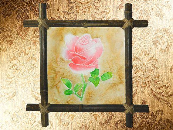 Rose Silk painting, Batik decor, Wall hanging, Rustic home decor ...