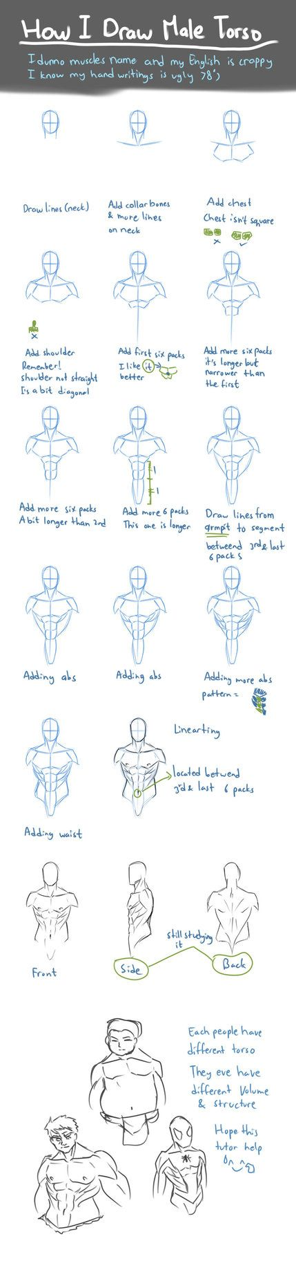 How I Draw Male Torso by nursury0 | skeches | Pinterest | Male torso ...