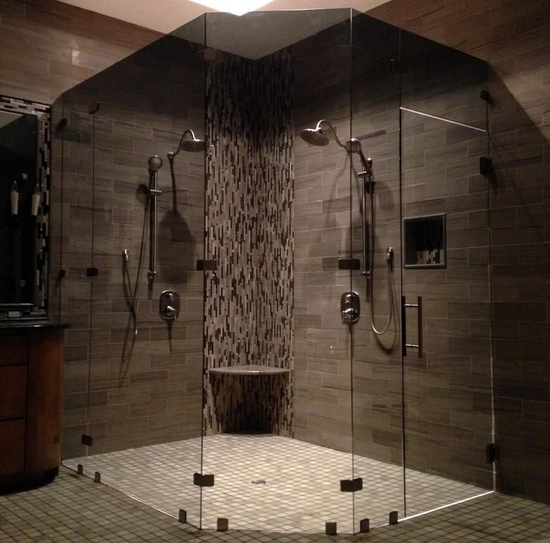 Custom 3 8 Inch Neo Angle Shower Door In Tinted Glass Shower