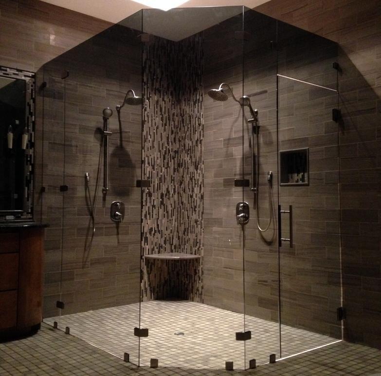 Custom 3/8 inch neo angle shower door in Cardinal Shower smoke ...
