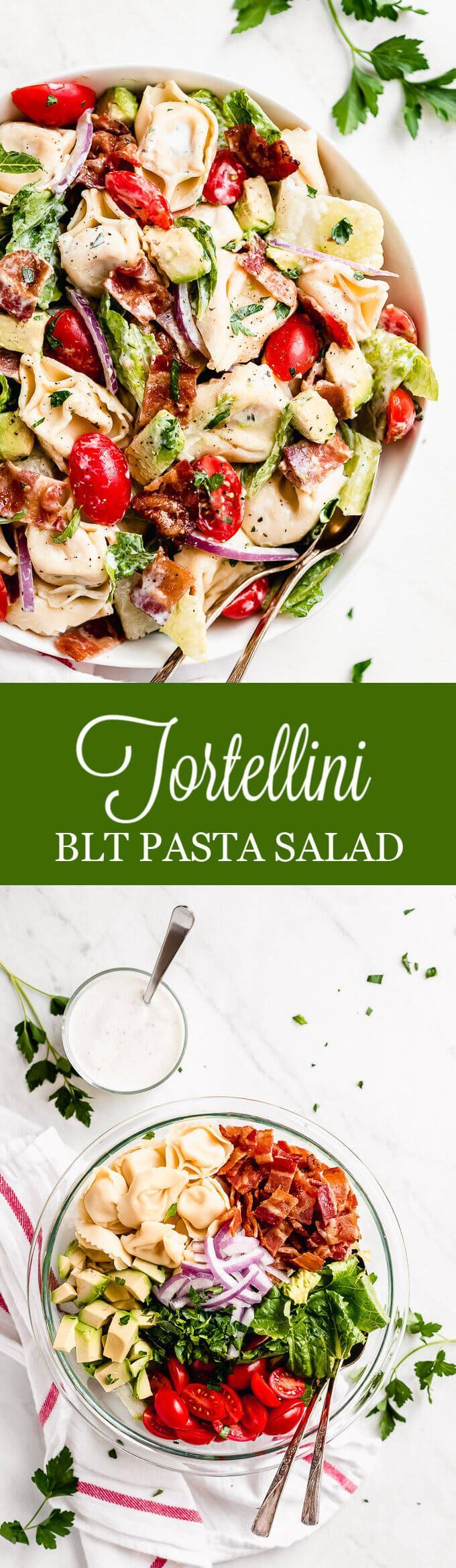 BLT Tortellini Salad - Garnish & Glaze BLT Tortellini Salad is loaded with bacon, fresh juicy summe